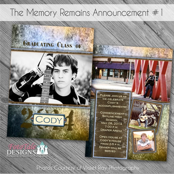 The Memory Remains Senior Graduation Announcement No. 1- custom photo templates for photographers on WHCC and Millers Lab Specs