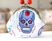 Lilac skull,floral skull coin purse