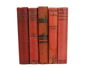 vintage book collection - red