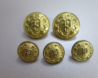 Vintage Brass P Uniform Buttons Waterbury Conn Police Uniform Buttons Set of 5 Domed Brass Buttons 2 Lg 3 Cuff Police Uniform Replacement