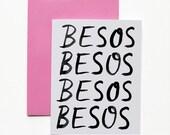 Valentine card, Valentines Day Card - Besos Besos Besos