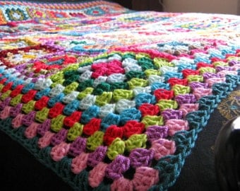 Large Crochet BLANKET Granny Squares 64 x 64 Afghan Sofa Throw