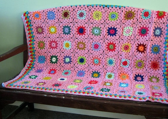 SALE Crochet Afghan Blanket Pink Handmade GRANNY SQUARES 40 x 50 In Stock Ready to Ship