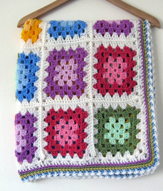 Crochet Blanket Granny Squares Multicolored Palette Colours In Stock Ready to Ship