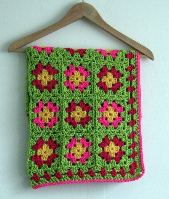 Sale 20% Off Crochet Baby Blanket Afghan Pink Lime Granny Squares In Stock Ready to Ship