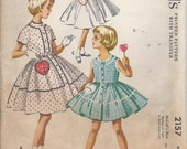1950s Vintage GIRLS Dress with HEART Patch POCKET, Sleeveless or Short Sleeves Sewing Pattern - Size 8, Factory Folded