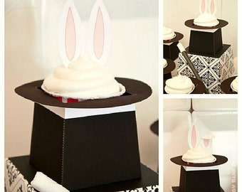 Magician's Hat Cupcake Holder : DIY Printable Rabbit in a Hat PDF // Magic Show // Magician // Magic Hat Treat Box - Instant Download