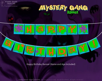 Mystery Gang Banner - DIY Printable Happy Birthday Banner // PDF File // Printed by You // Cartoon Detective // Mystery Van // 70s Van
