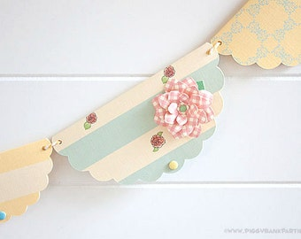 Rose Shabby Chic Garland : Vintage Birthday Decoration | Tea Party Decoration | Bridal Shower | Baby Shower | Rustic Wedding Decoration