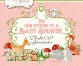 Woodland Fairy Tale Animals, Digital Clip Art Kit, E14-24A, deer fawn fox owl hedgehogs bunny rabbits mushrooms baby shower word art frame