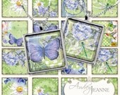 hummingbird blue butterfly 1 in square digital collage sheet, Winged Jewels daisy scrabble dragonfly hydrangeas inchies jewelry AJR-026