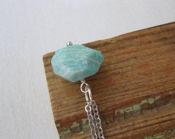Amazonite Necklace - Natural Light Blue Green Russian Amazonite Rock Nugget Necklace Silver Chain stone no.5