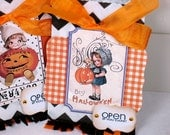 Shabby Chic Halloween Candy Bags Treat Bags Favor Bags, set of 2