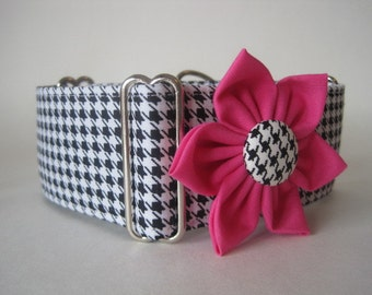 Houndstooth Martingale Collars and Matching Collar Flower, 1.5 Inch Martingale Collars, Houndstooth Dog Collar, Greyhound Dog Collar
