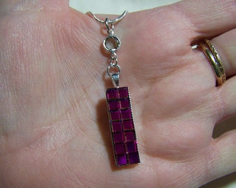 Vintage Swarovski Rainbow Crystal Cube Pendant