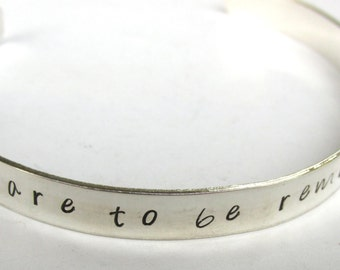 Sterling Silver, Dare To Be Remarkable, Cuff Bracelet, Motivational Bracelet, Inspirational Jewelry, Graduation Gift