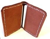 Slim and soft Hand Stitched Deerskin Front Pocket Wallet or Business Card Holder - Chestnut Brown