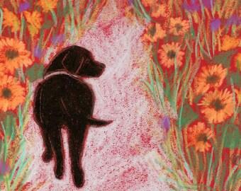 black dog art card, dog note card