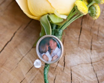 Photo Boutonniere Pin Groom Father of the Bride Groomsmen Wedding