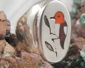 Edaakie Inlaid Red Headed Woodpecker Ring