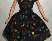 """Handmade 11.5"""" fashion doll dress - Black with colorful notes print - vintage style"""