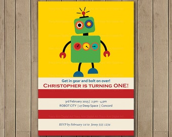 ROBOT Birthday Invitation, Printable, DIY, Boy Birthday, Robot Party