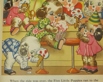 Vintage Ruth Newton Childrens Nursery Rhyme Book Print-Puppies Ice Cream-Book Plate