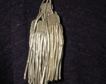 """Four Antique Silver Metallic Bullion Tassels 1920s Germany 3 and 1/2"""" long"""