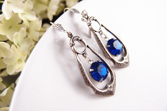 Sapphire blue--Swarovski crystal aged sterling silver plated brass earrings