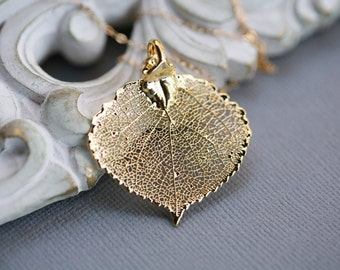 Baby Aspen leaf,Gold or Silver,Leaf necklace,bridesmaid gifts,Autumn fall wedding,Lariat,Personalized,wedding jewelry
