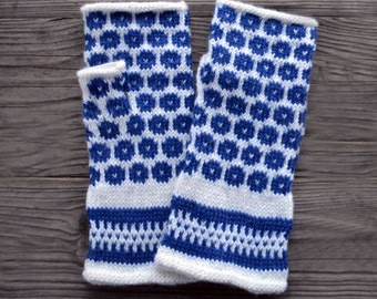 Blue Fingerless Polka Dots Gloves - Blue and White Fingerless Gloves - Fingerless Gloves - Knit - Women nO. 12