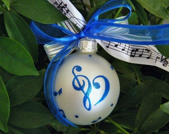 Music Lover Ornament - Heart Treble and Bass Clef Musical Notes - Hand Painted Personalized Christmas Ornament Bauble, Music Recital Award