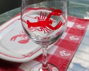 Lobster Wine Glass Hand Painted Red Iced Tea Sweet Tea