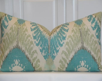 Decorative Pillow Cover - Aqua - Soft Green - IKAT - Accent Pillow - Cushion cover - Pillow Case