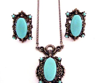 Vintage 30s 40s Necklace and Earrings Set - Vintage Faux Turquoise and Silver Tone Filigree Pendant and Earrings