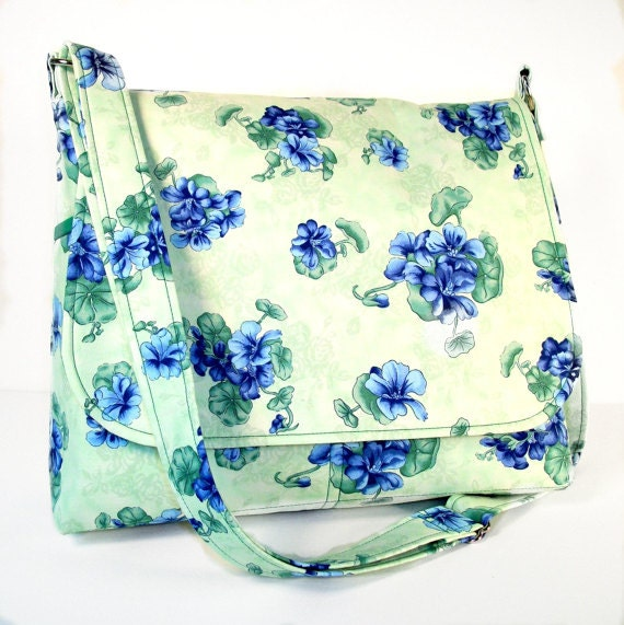 Medium Floral Purse, Womens Cross Body Bag, Everyday Messenger Purse, Fabric Shoulder Bag - Blue Floral on Green Crossbody, Ready to Ship