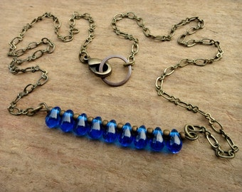 Dainty Blue Glass Necklace, rustic jewelry with bottle blue glass drops & gold antiqued brass chain, layering choker