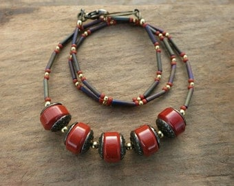 Red Jasper Necklace, rustic Bohemian style red stone bead jewelry with gold brass accents