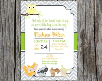 Printed Forest Animals Baby shower invitation, woodland creatures baby shower invitation, custom and printable, baby boy