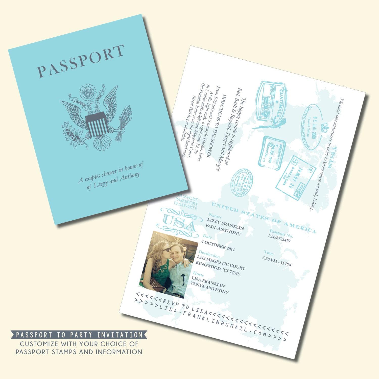 Passport Invitation Travel Theme Invitation By Kreativees