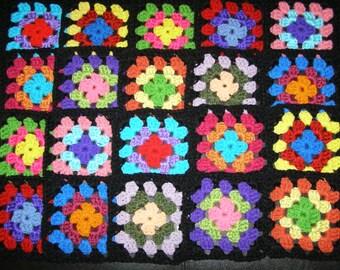 20 Crochet Granny Square Blocks for Afghan - Multicolored With Black Border Lot BLK25