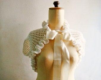 White Bridal Shrug, Wool Blend Crochet Wrap Bolero, Crochet Shrug