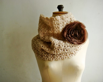 Crochet Cowl, Circle Scarf,  Snood in Light Beige with Brown Chiffon Flower Pin