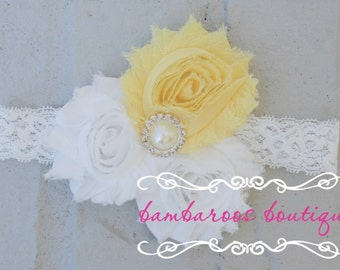 shabby chic yellow baby headband on a soft white lace elastic