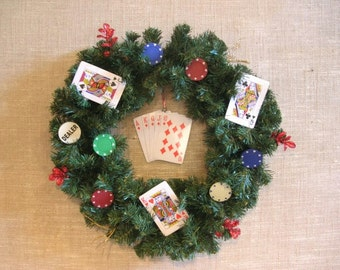 Royal Flush Poker Player Wreath With Chips And Cards