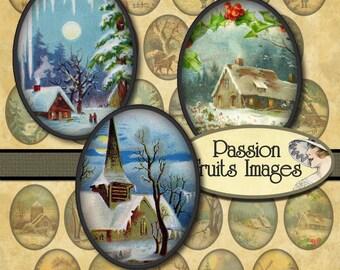 Winter Landscapes 20mm x 30mm  Bottlecaps Digital Collage Sheet Christmas Ovals-- Instant Download