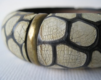 Vintage Wood and Brass Ethnic Bangle