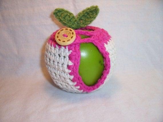 Handmade Crocheted Apple Cozy - Crochet Apple Cozy in Ecru Color with Pink Trim