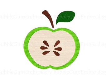 Green Apple Embroidery Design Instant Download