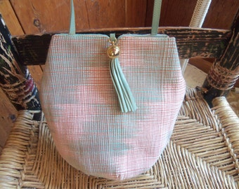 80s SHAR MARK--Sage and Rose Mini Bucket Bag--Ethnic Textile--Green Leather Tassel--Made in Las Vegas